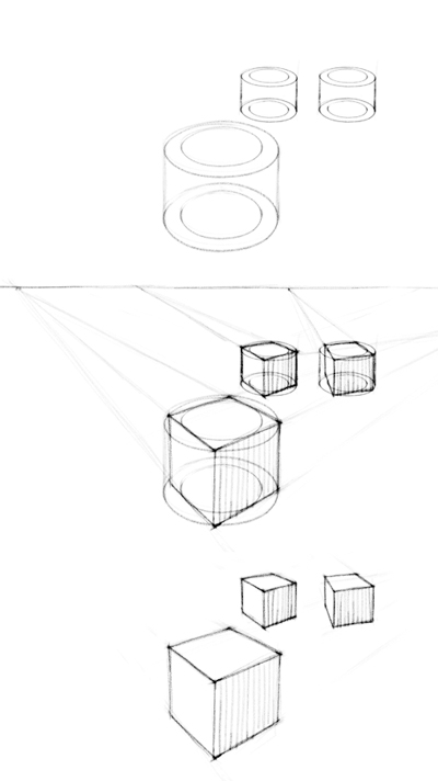 400x712 Cubes In Two Point Perspective With Different Rotations Art