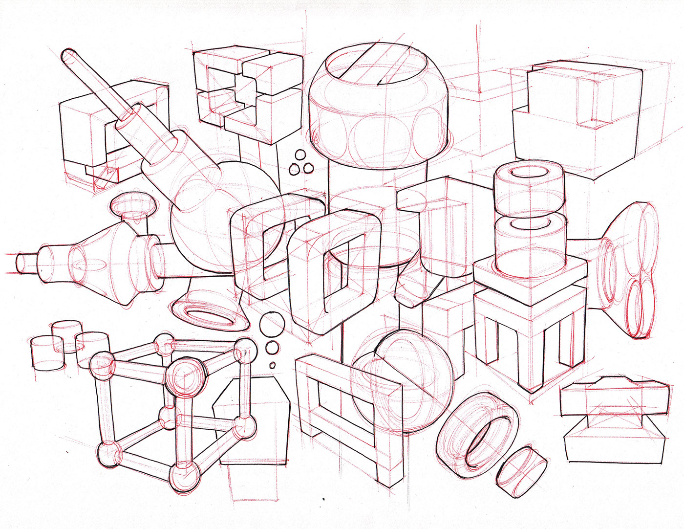 1400x1082 Sketchbook On Behance Cube Intersected By Tube
