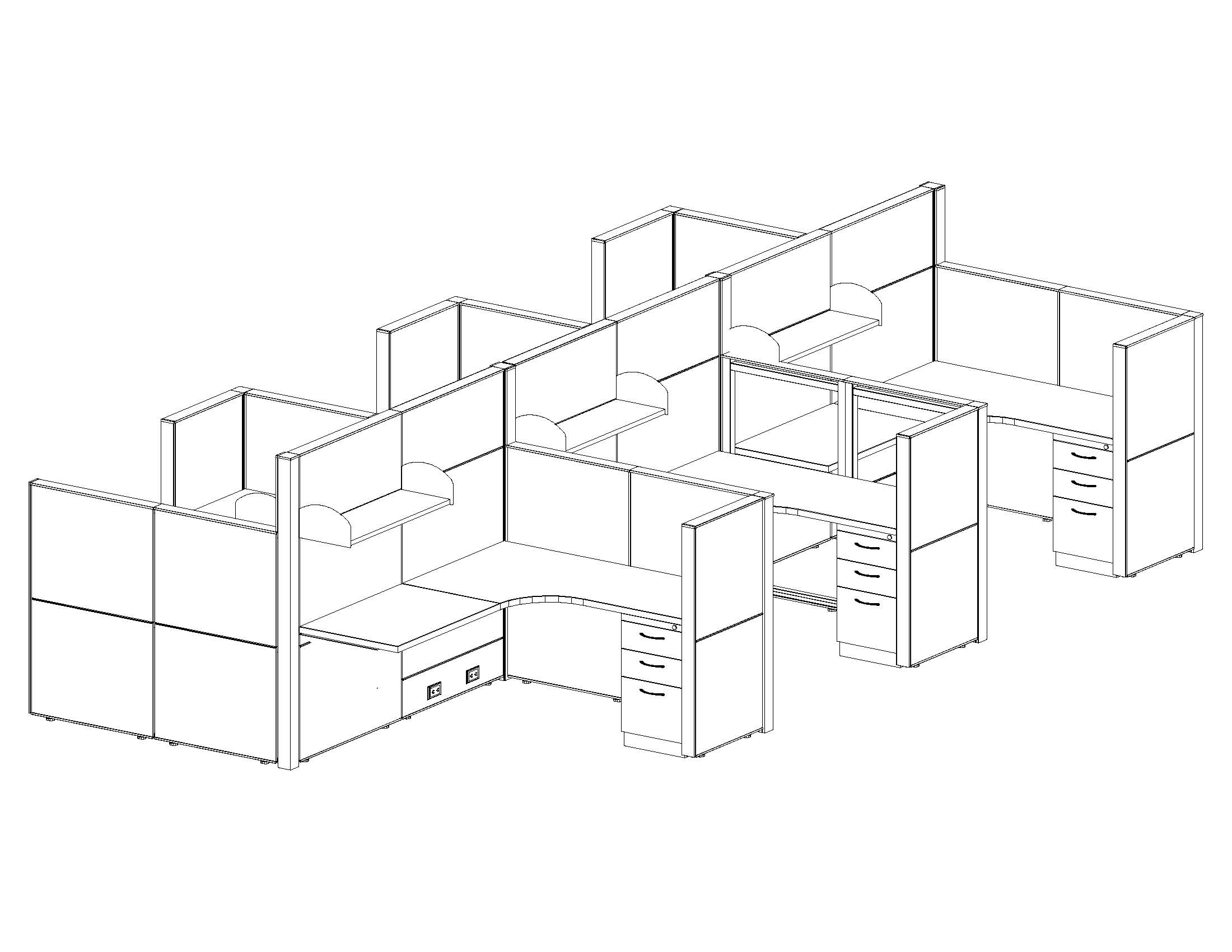 2200x1700 Office Cubicle Systems