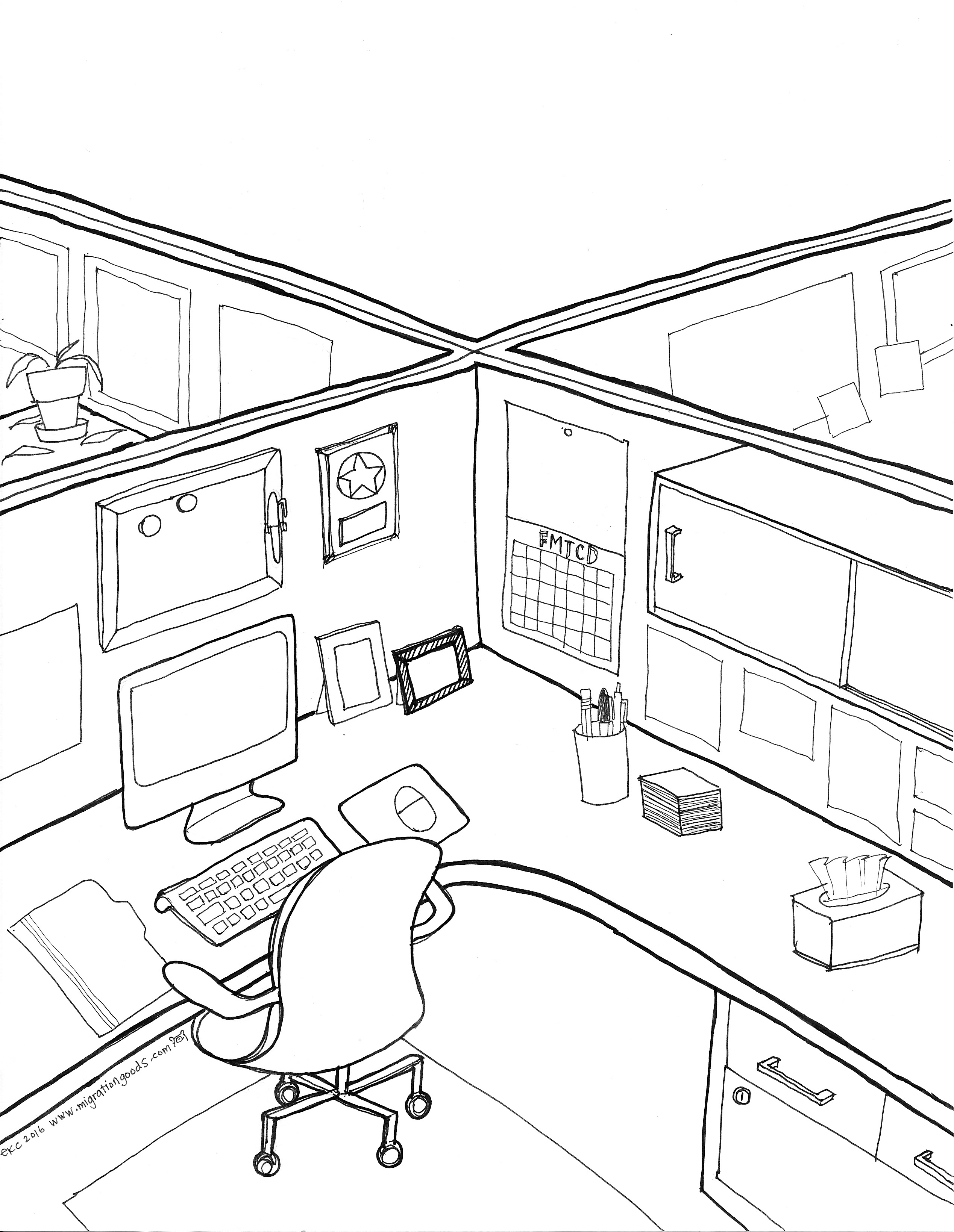 2537x3278 Cubicle Coloring Page By Migration Goods Follow Me To Certain Doom