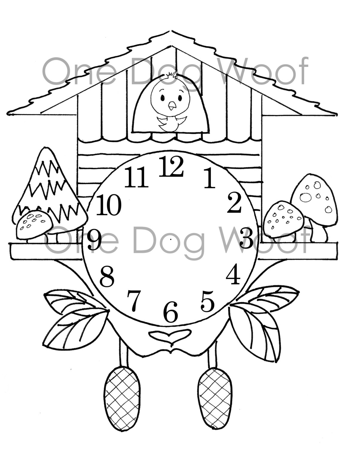 1159x1500 Create Your Own Cuckoo Clock Digital Print Coloring Page