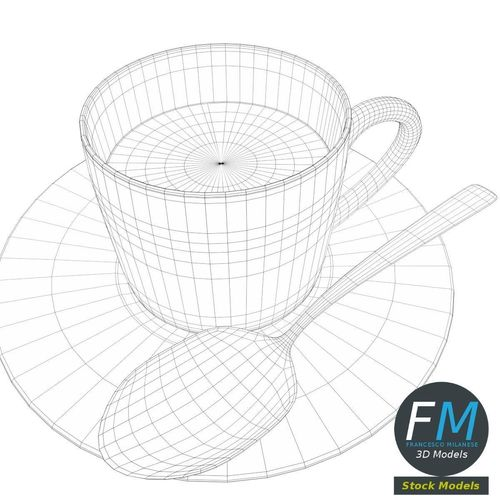 500x500 Coffee Cup With Saucer And Spoon 3d Asset Cgtrader