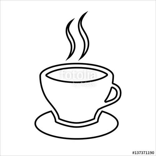 500x500 Cup Of Coffee Or Tea Line Icon. Hot Beverage Mug On Saucer