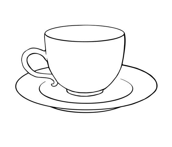 564x482 Drawn Tea Cup Sketch