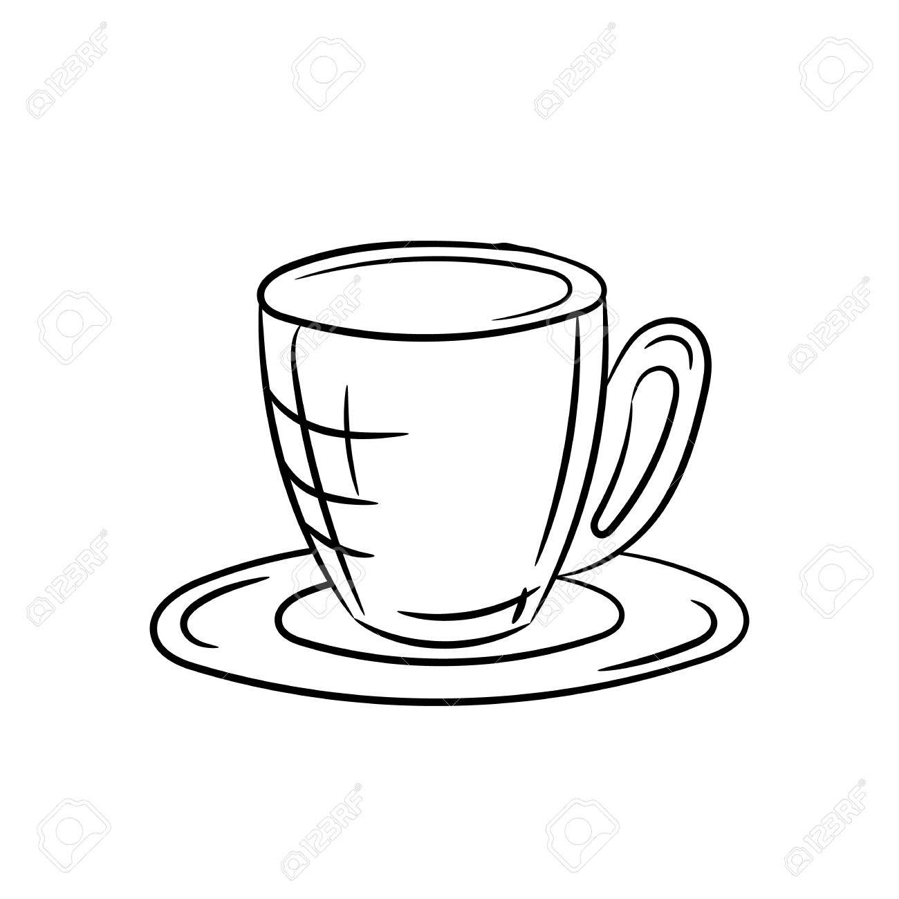 1300x1300 Hand Draw Cup And Saucer On A White Background Royalty Free