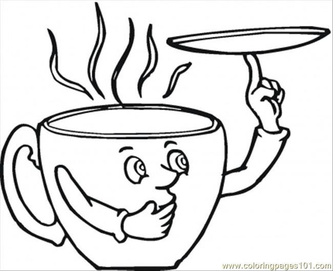 650x529 Saucer And The Coffee Cup Coloring Page