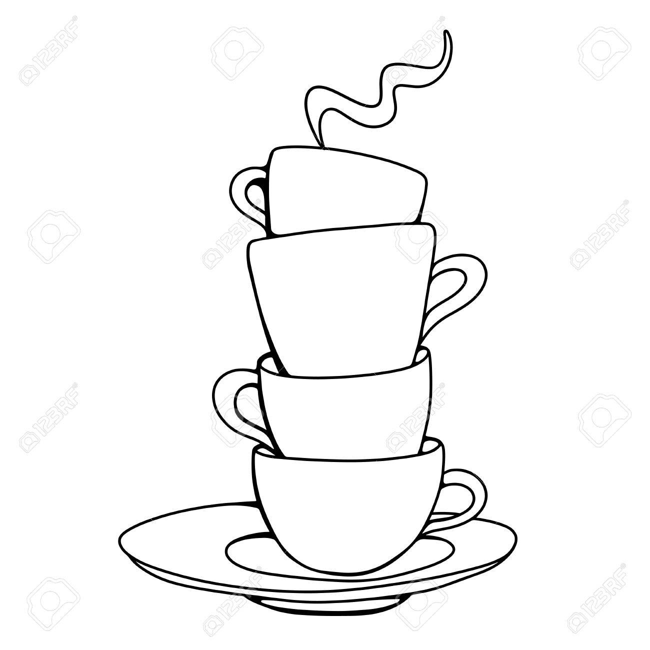 1300x1300 Set Sketch Cups And Saucer Isolated