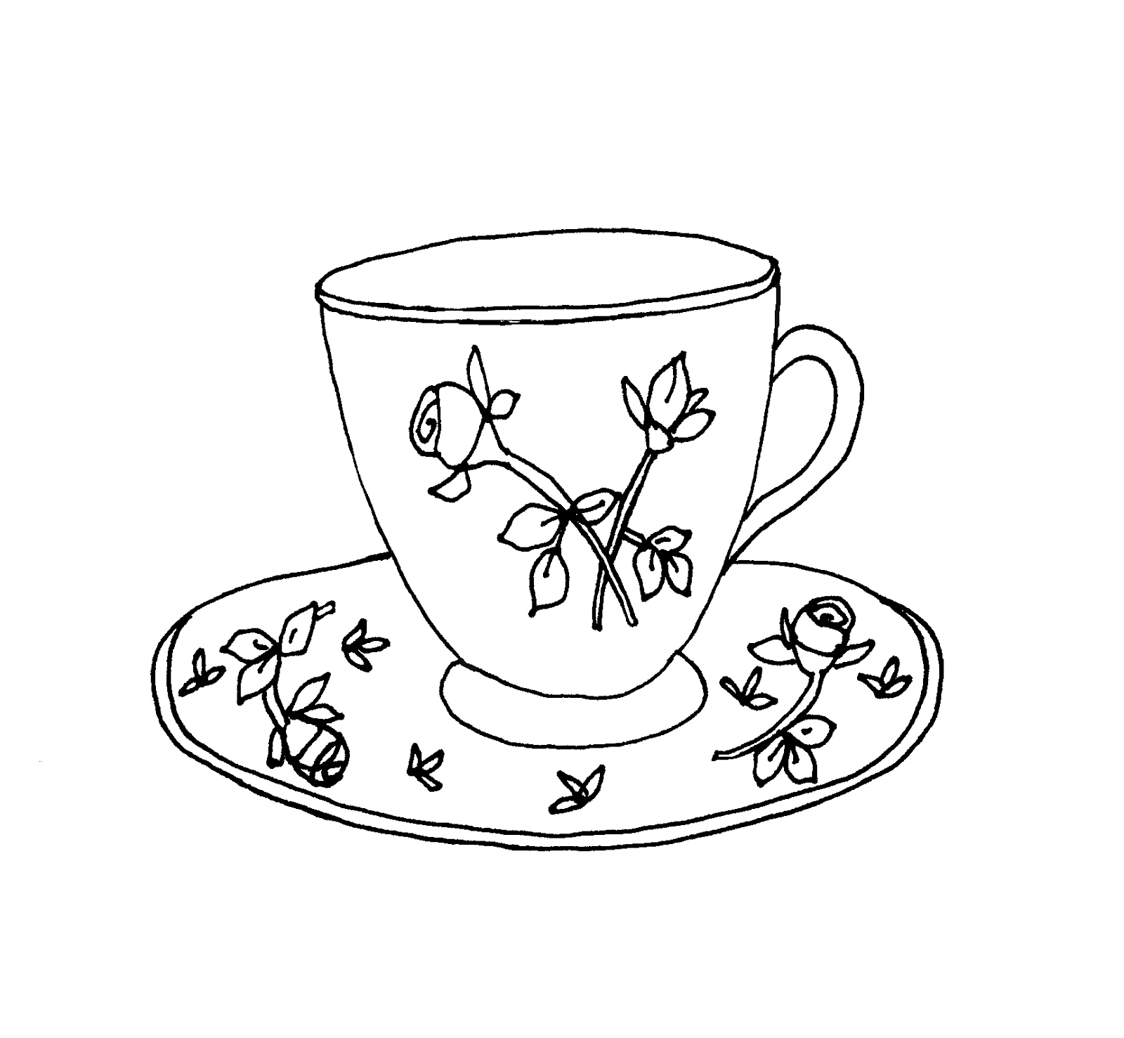 1600x1477 55 Tea Cup Sketch, Tea Party How To Draw A Teacup And Paint
