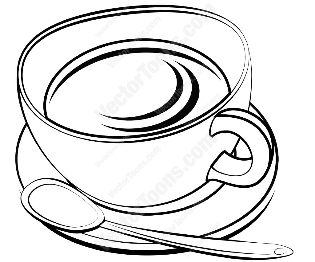 1024x853 Tea Cup And Saucer With A Spoon Cartoon Clipart