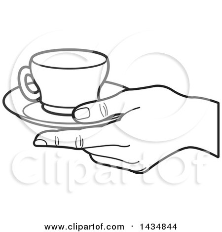450x470 Clipart Of A Black And White Hand Holding A Tea Cup And Saucer