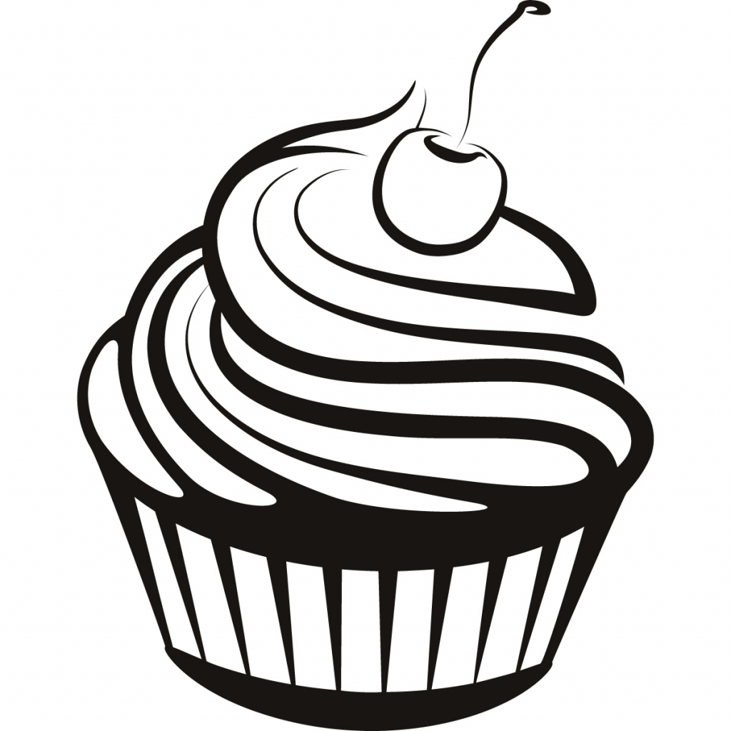 1024x1024 Drawing Of A Cupcake Simple Cupcake Drawing How To Draw A Kawaii