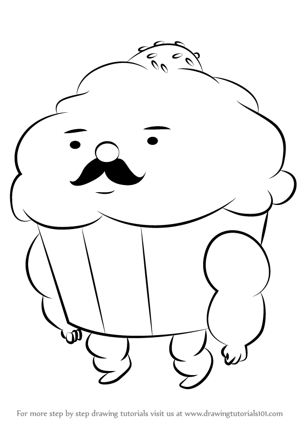 596x843 Learn How To Draw Mr. Cupcake From Adventure Time (Adventure Time