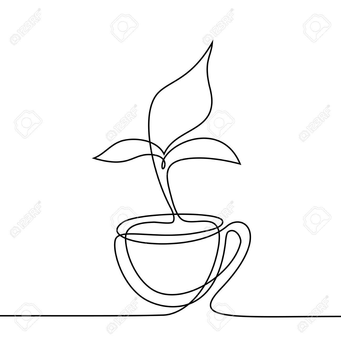 1300x1300 Cup Of Tea With Smell Shaped Leaf. Continuous Line Drawing. Vector
