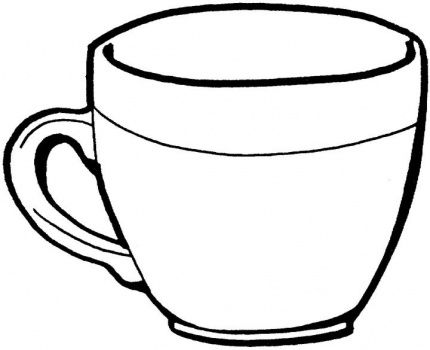 430x350 Cup Clipart Line Drawing