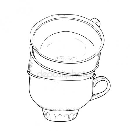 450x450 Outline Sketch Of Cup Stock Vector Beatwalk