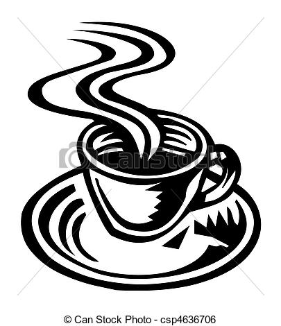 405x470 Silhouette Of Hot Coffee Cup Stock Illustration