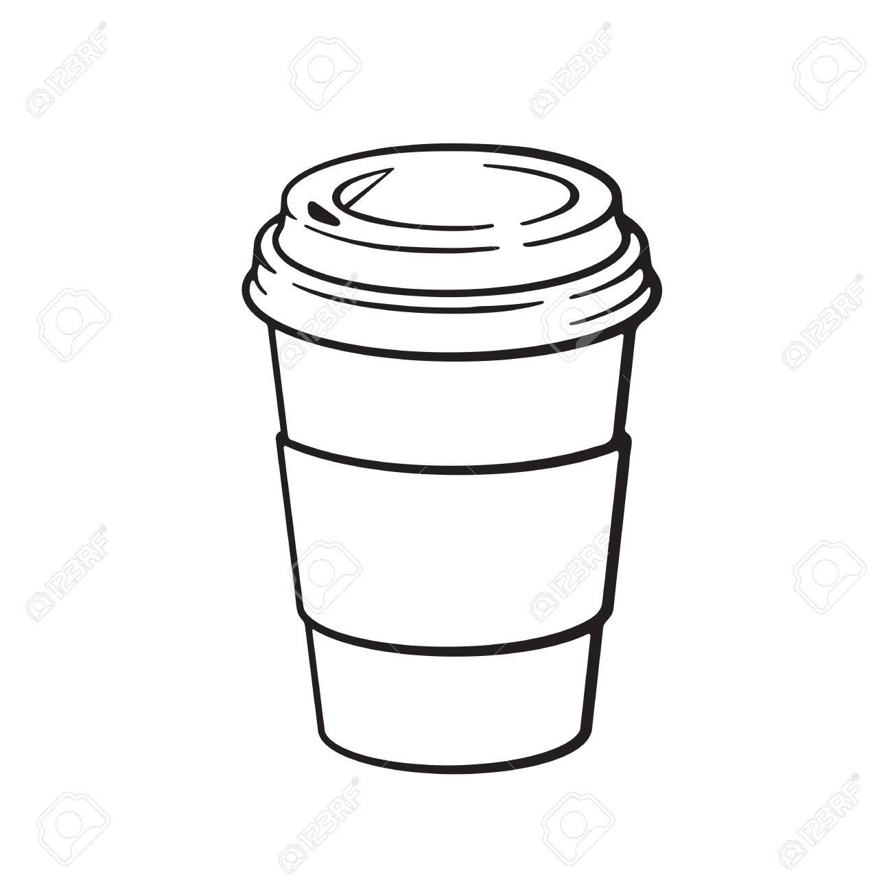 1300x1300 Vector Illustration. Hand Drawn Doodle Of Disposable Paper Cup