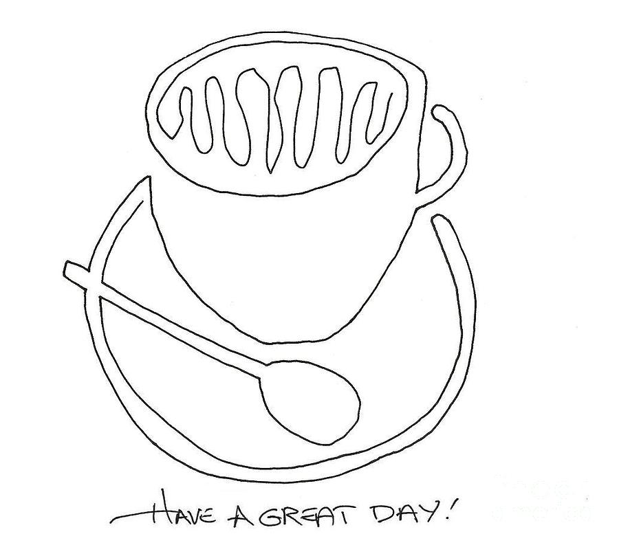 900x793 Coffe Cup And Spoon Drawing By David Hinske