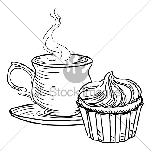 500x500 Cup Of Tea And Cupcake Vintage Retro Style Gl Stock Images