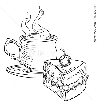 412x450 Cup Of Tea And Cake Vintage Retro Style