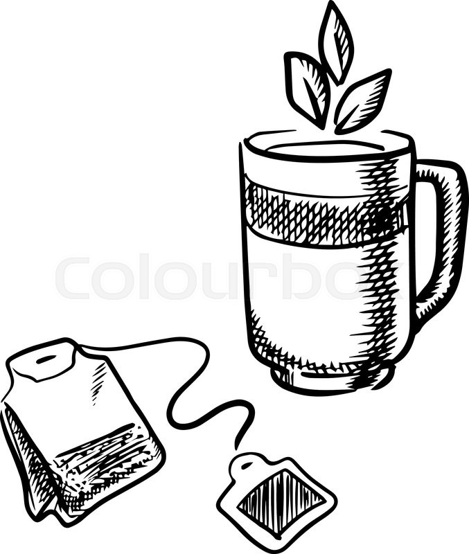 677x800 Cup Of Fresh Black, Green Or Herbal Tea With Leaves And Teabag