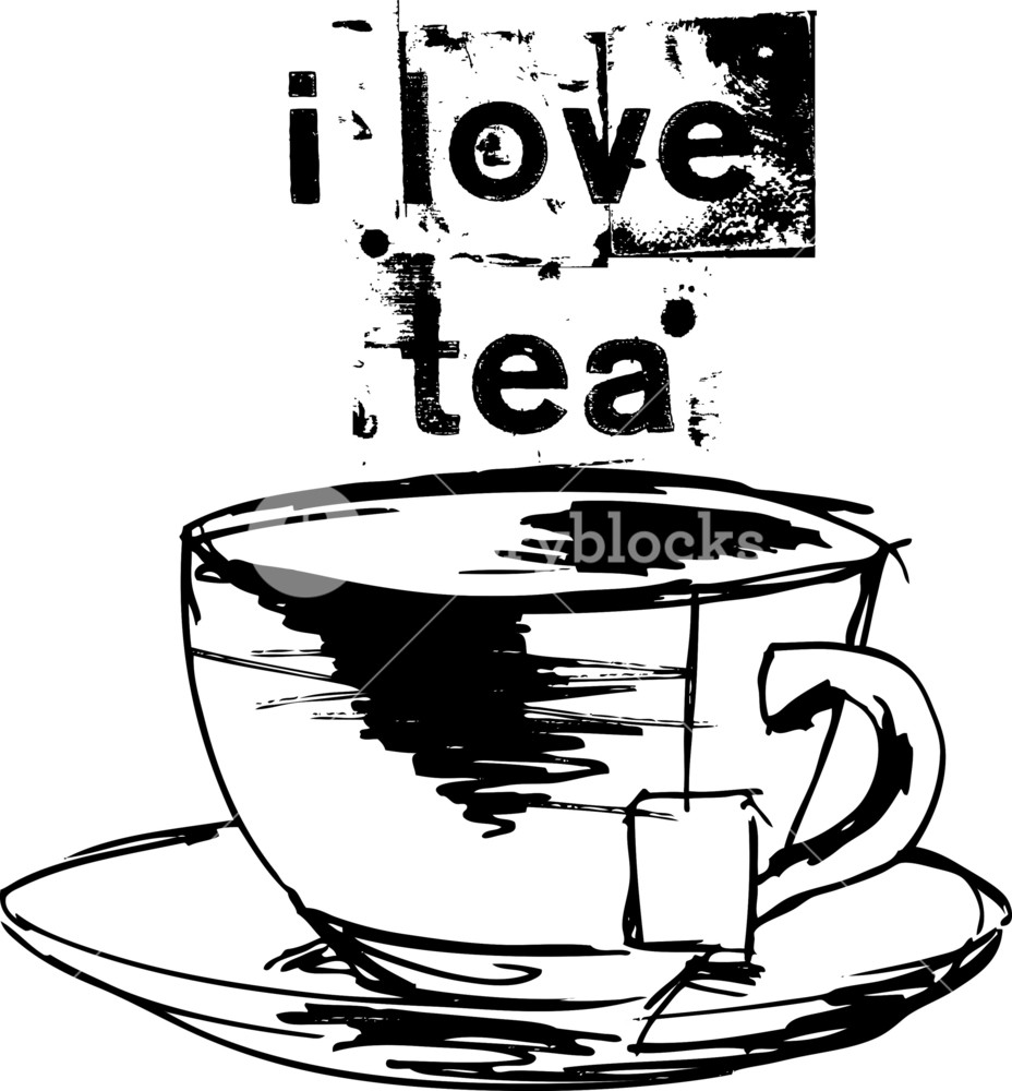 928x1000 Sketch Of Cup Of Tea With Tea Bag. Vector Illustration Royalty