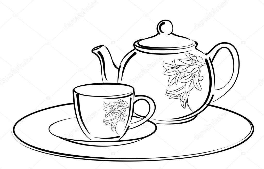 1023x655 Sketch Of Tea Service. Stock Vector Designer