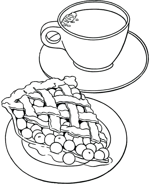 600x734 Boston Tea Party Coloring Page Apple Pie And A Cup Of Tea Coloring