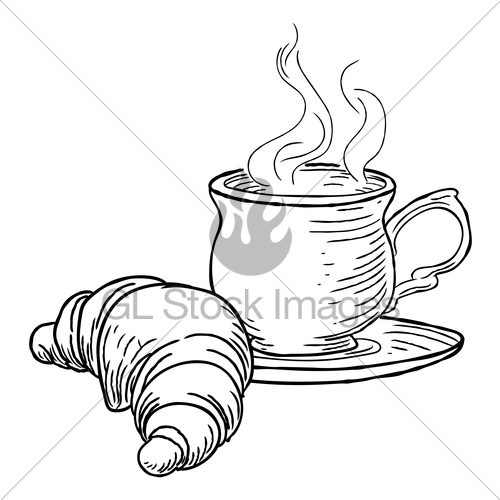 500x500 Cup Of Tea And Croissant Vintage Retro Style Gl Stock Images
