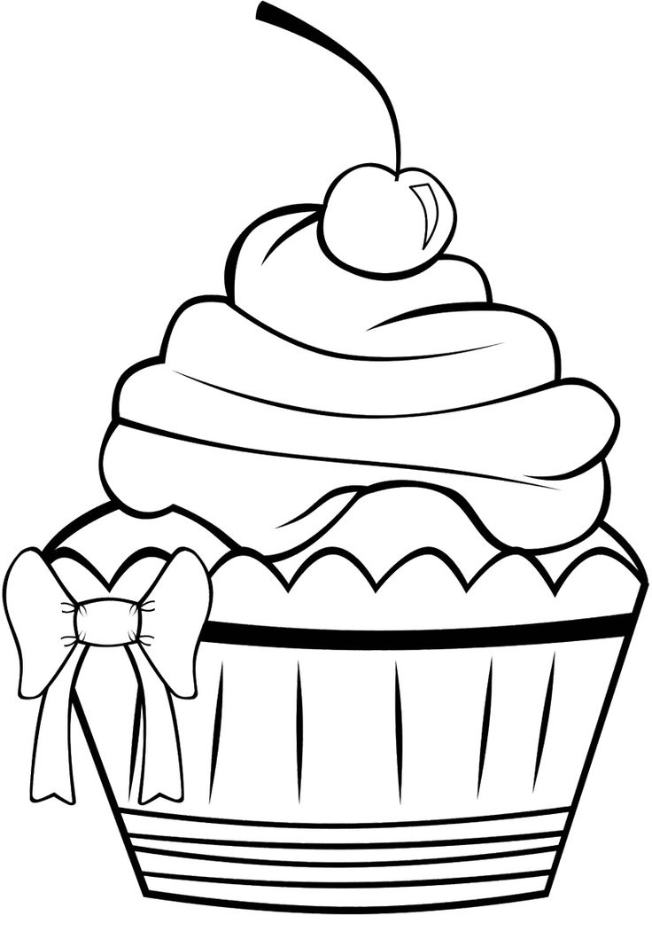 Cupcake Black And White Drawing