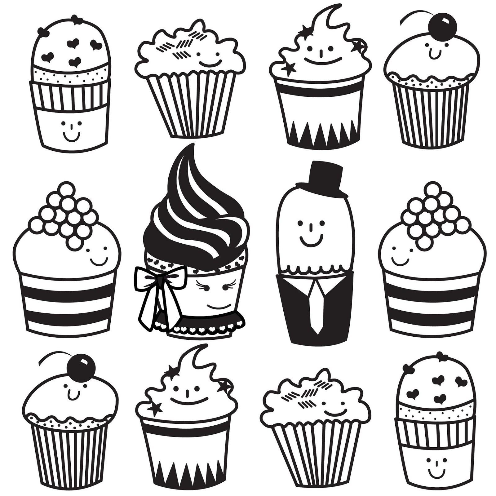 1600x1600 Black And White Cupcake Drawing Black And White Cupcake Drawing