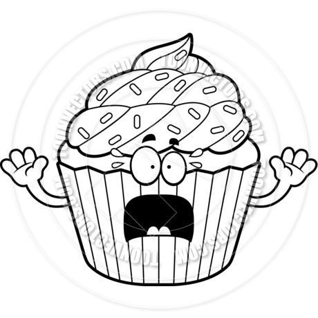 460x460 Cartoon Cupcake Scared (Black And White Line Art) By Cory Thoman
