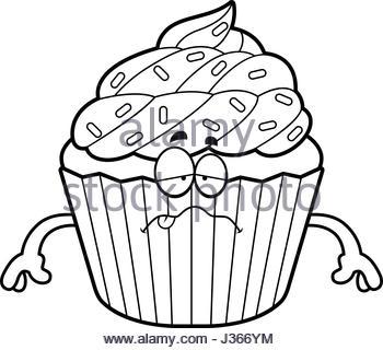 350x320 A Cartoon Illustration Of A Cupcake Looking Sick Stock Vector Art