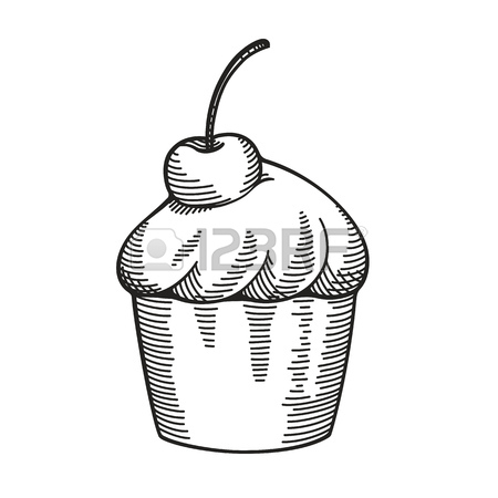 450x450 Hand Drawn Vintage Cupcake With Cherry, Drawing Imitating Pencil