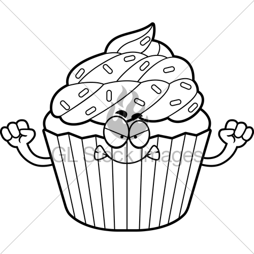 500x500 Angry Cartoon Cupcake Gl Stock Images