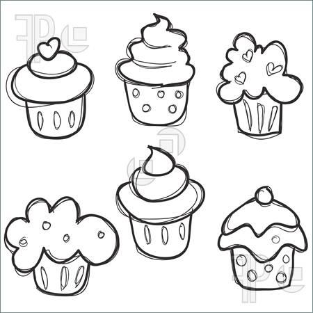 450x450 Illustration Of Hand Drawn Cupcake Set. Royalty Free Vector