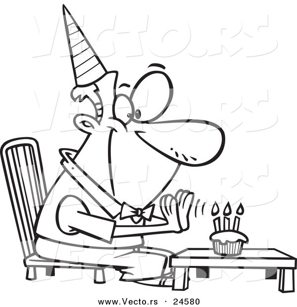 600x620 Vector Of A Cartoon Birthday Man Seated Before His Cupcake