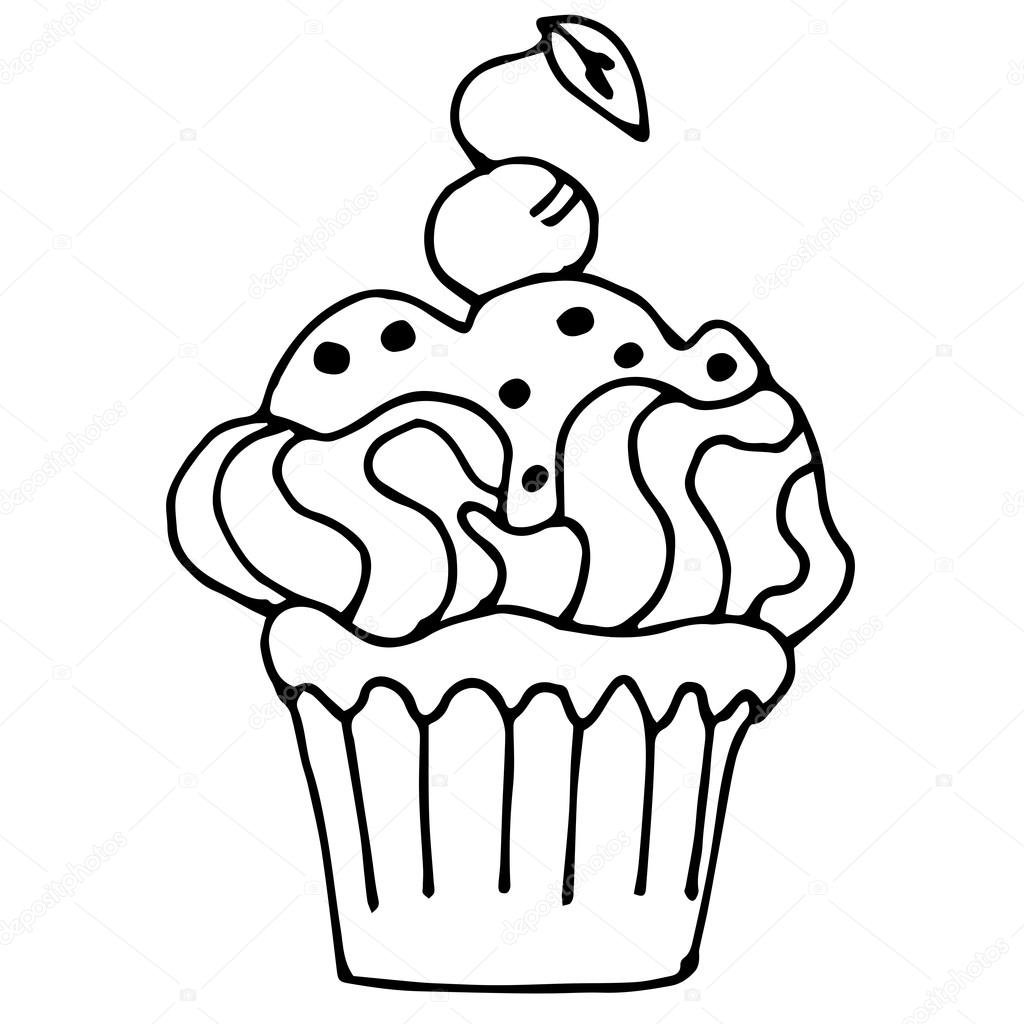1024x1024 Cake With Cherrie, Cupcake Drawn In Outline Isolated On White Ba