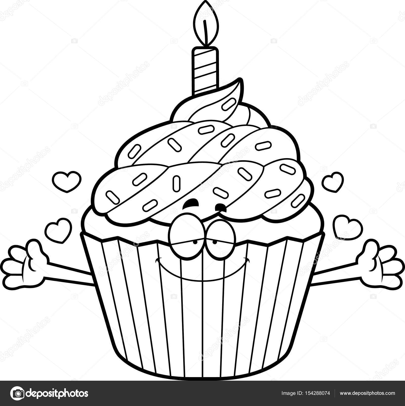 1600x1603 Cartoon Birthday Cupcake Hug Stock Vector Cthoman