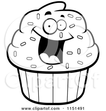 450x470 Cartoon Clipart Of A Black And White Excited Cupcake Character
