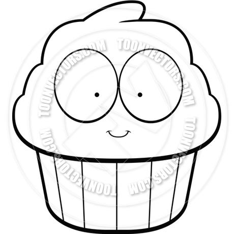 460x460 Cartoon Cupcake (Black And White Line Art) By Cory Thoman Toon