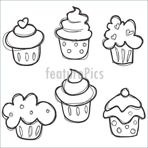 500x500 Baked Goods Hand Drawn Cupcake Set
