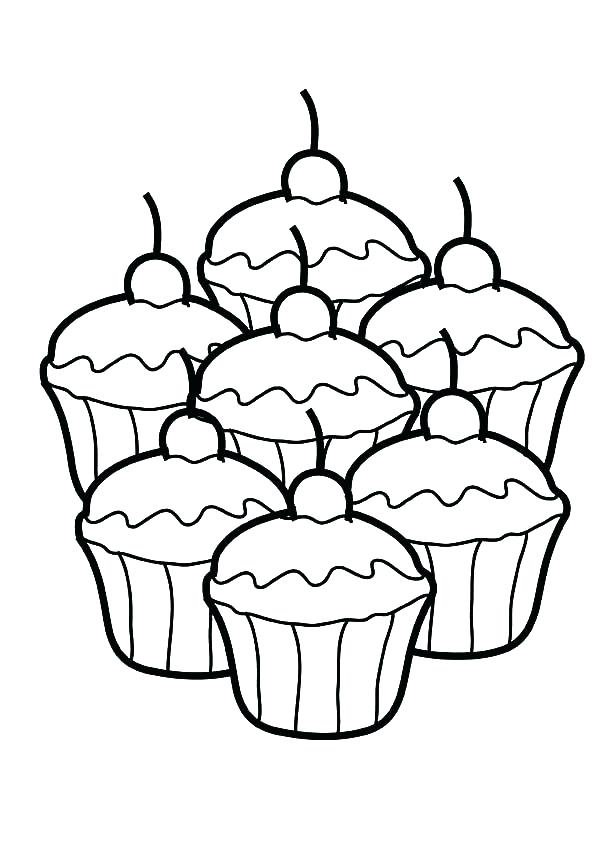 600x849 Entertaining Coloring Pages Of Cupcakes Online Drawing Printable