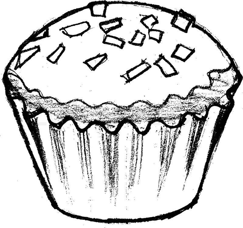 800x752 Hand Drawn, Cartoon, Sketch Illustration Of Cupcake Stock Vector