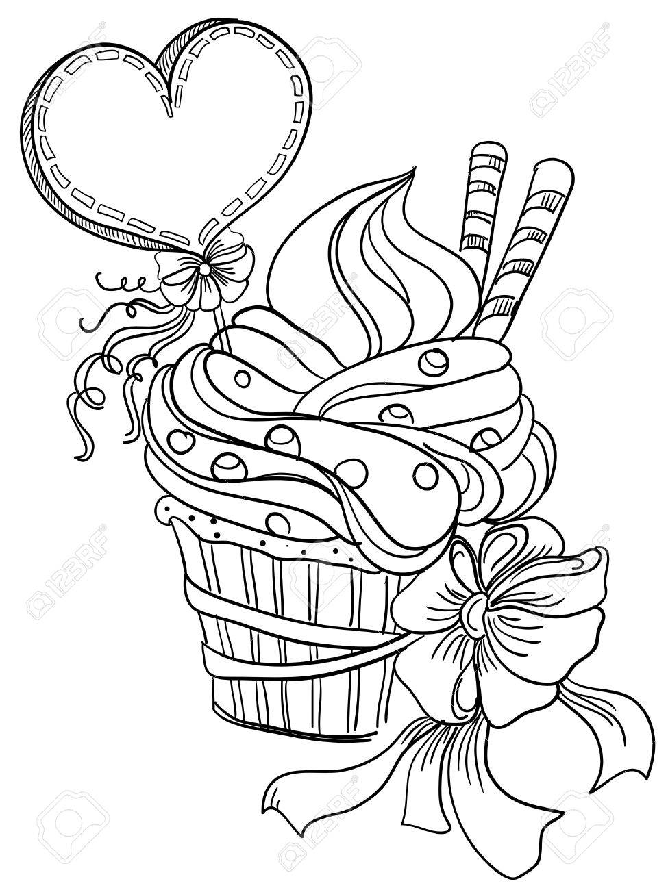 975x1300 Vector Hand Drawing Cupcake With Hearts Royalty Free Cliparts