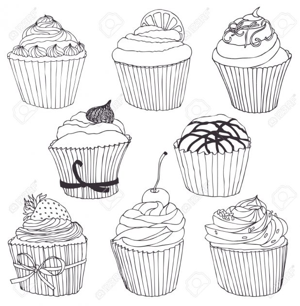 618x630 Adult Cupcake Drawing Cupcake Drawing Cute. Cupcake Drawing