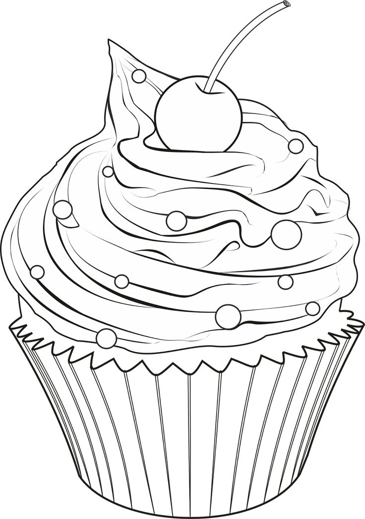 Cupcake Drawing Black And White