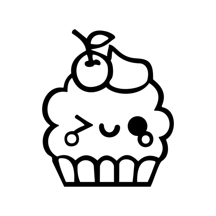 690x690 Cute Kawaii Cupcake Graphics Design Svg Dxf By Vectordesign On Zibbet