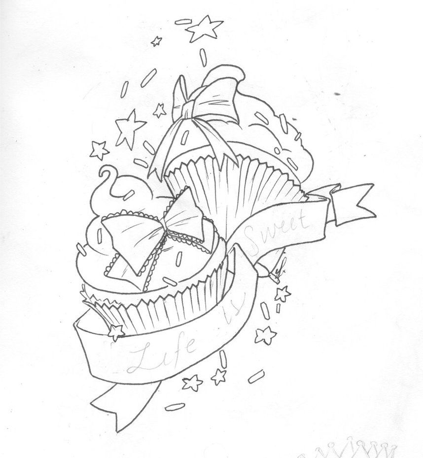 858x930 Tattoo Sketches And Drawings Cupcake Tattoo Design By Elfrog