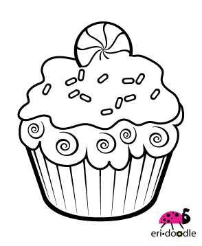 294x358 Eri Doodle Designs And Creations Peppermint Cupcake Digi Stamp